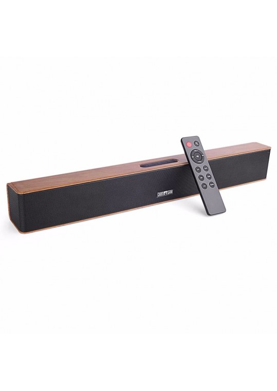 Wooden Bluetooth Soundbar 24W 2.0 Channel Loudspeaker Portable Stereo 3D Surround TF Speaker Aux in USB for PC Home Theatre